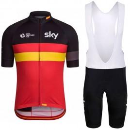 Ensemble cuissard vélo et maillot cyclisme équipe pro SKY drapeau