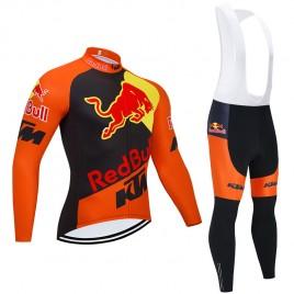Ensemble cuissard vélo et maillot cyclisme hiver pro KTM RED BULL 2020