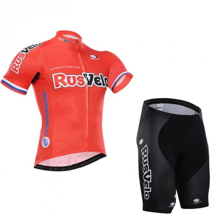 Ensemble cuissard vélo sans bretelles et maillot cyclisme équipe pro Rusvelo