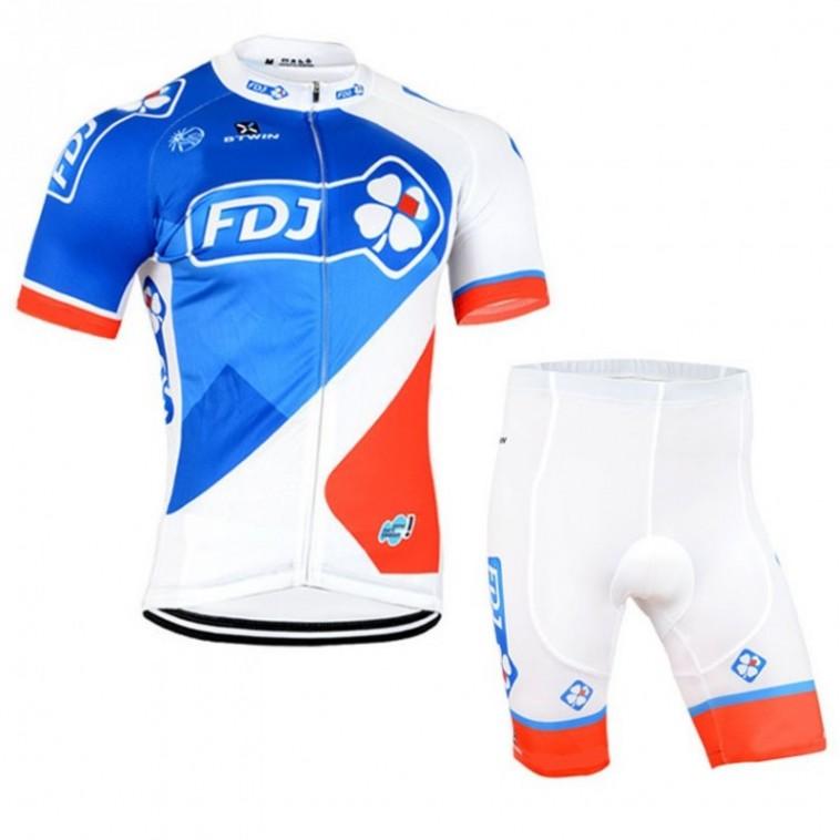 Ensemble cuissard vélo sans bretelles et maillot cyclisme équipe pro FDJ