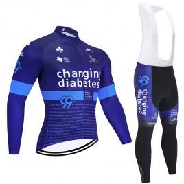 Ensemble cuissard vélo et maillot cyclisme hiver pro Novo Nordisk Diabetes 2020