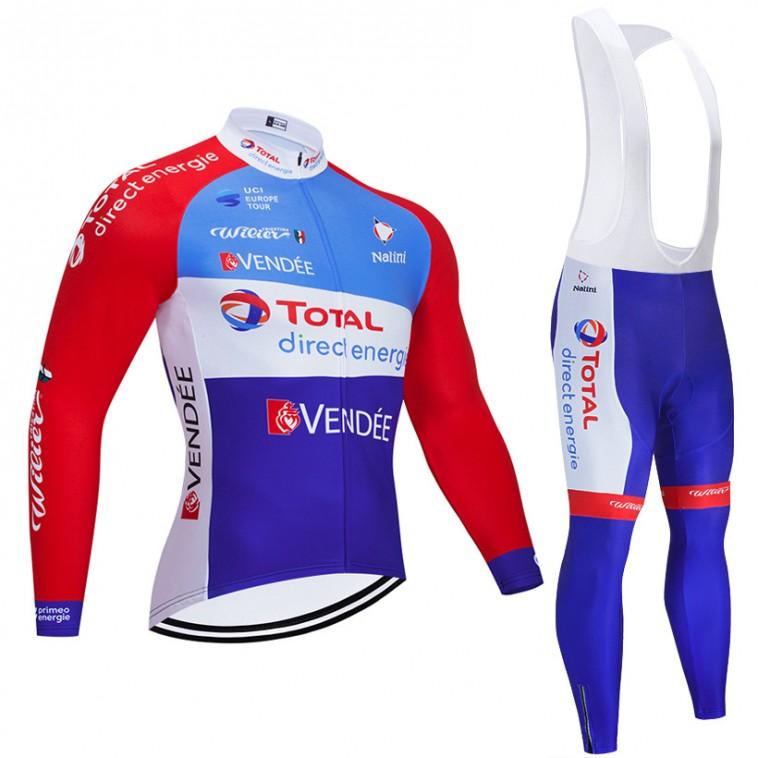 Ensemble cuissard vélo et maillot cyclisme hiver pro TOTAL Direct Energie 2020