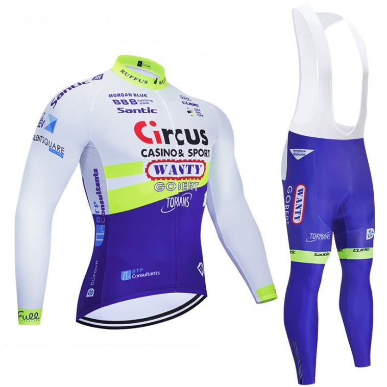 Ensemble cuissard vélo et maillot cyclisme hiver pro WANTY Gobert 2020