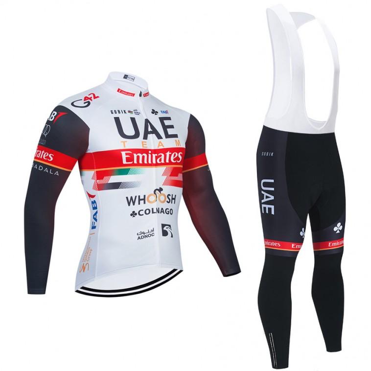 Ensemble cuissard vélo et maillot cyclisme hiver pro UAE EMIRATES 2021