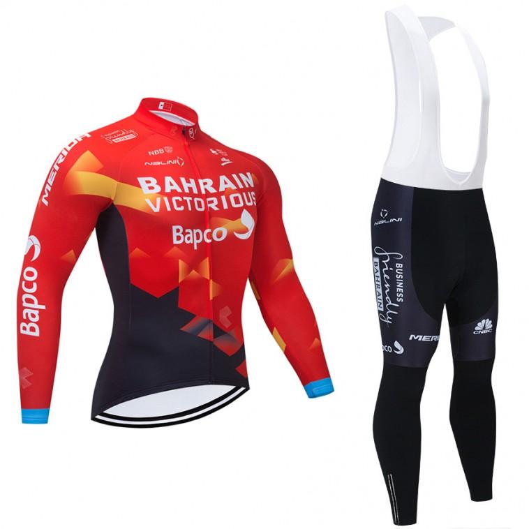 Ensemble cuissard vélo et maillot cyclisme hiver pro BAHRAIN 2021
