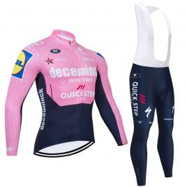Ensemble cuissard vélo et maillot cyclisme hiver pro QUICK STEP Deceuninck 2021 Pink
