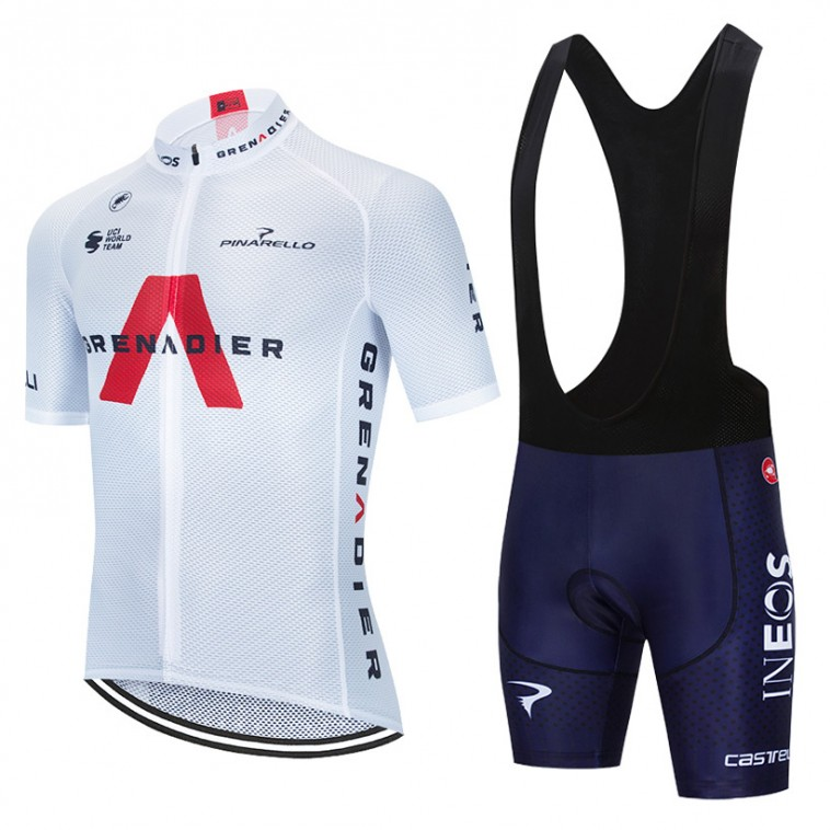 Ensemble cuissard vélo et maillot cyclisme équipe pro INEOS GRENADIER 2021 Aero Mesh Blanc