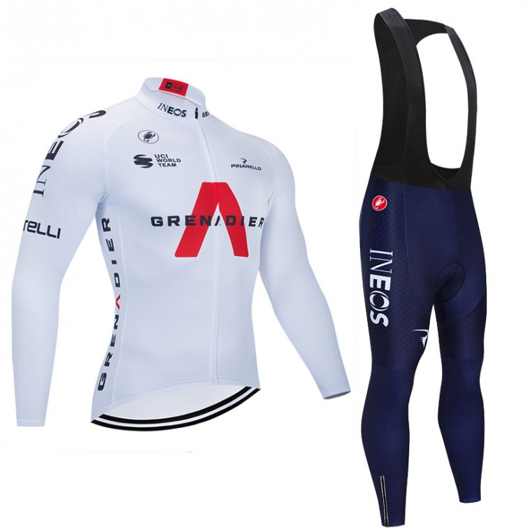 Ensemble cuissard vélo et maillot cyclisme hiver pro INEOS GRENADIERS 2021 Blanc