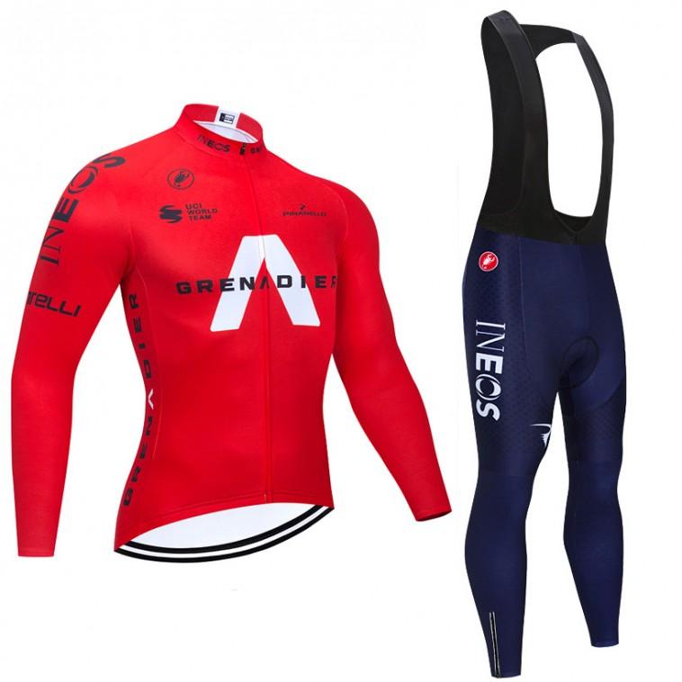 Ensemble cuissard vélo et maillot cyclisme hiver pro INEOS GRENADIER 2021 Rouge