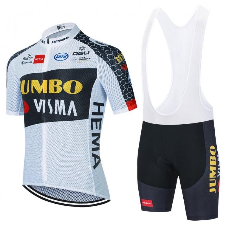 Ensemble cuissard vélo et maillot cyclisme équipe pro JUMBO VISMA 2021 Aero Mesh Blanc