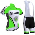 Ensemble cuissard vélo et maillot cyclisme équipe pro Tinkoff vert