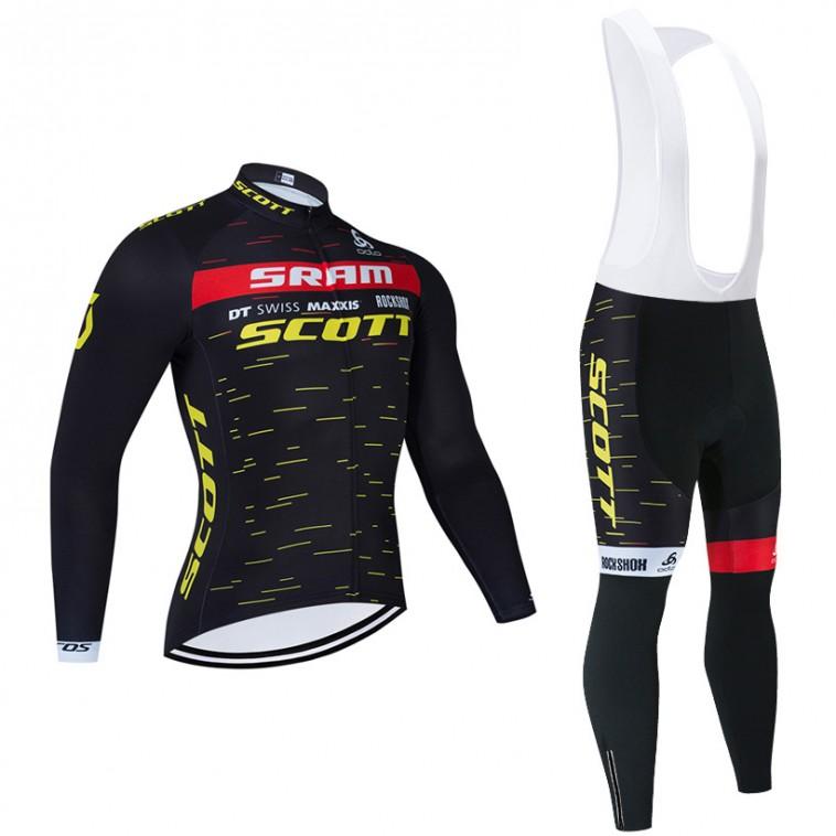 Ensemble cuissard vélo et maillot cyclisme hiver équipe pro SCOTT SRAM 2021