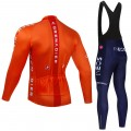 Ensemble cuissard vélo et maillot cyclisme hiver pro INEOS GRENADIER 2021 Orange