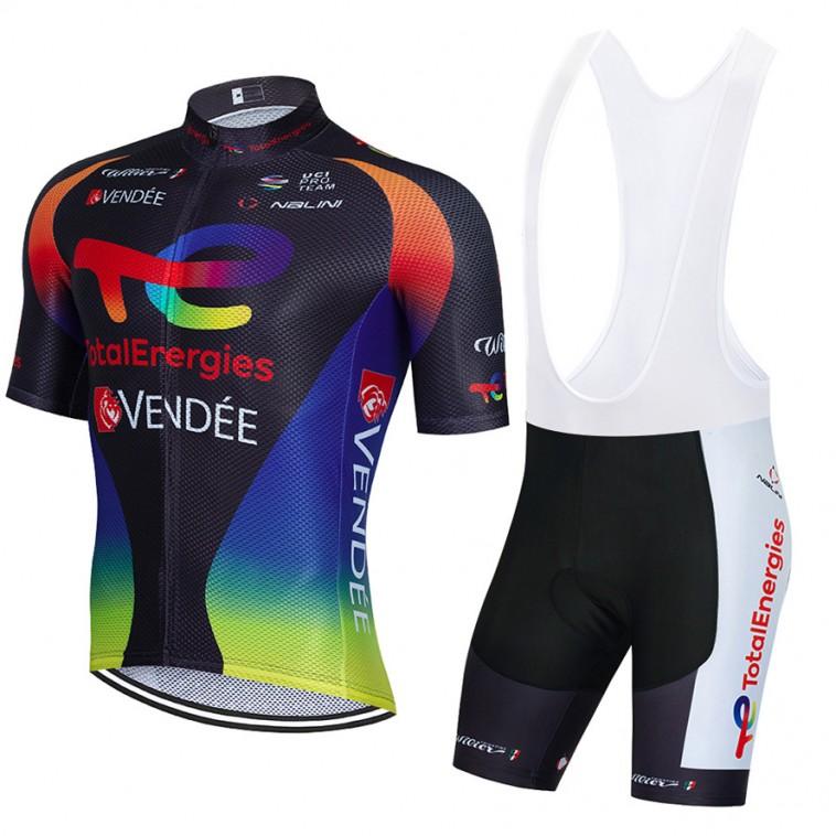 Ensemble cuissard vélo et maillot cyclisme équipe pro TotalEnergies 2021 Aero Mesh Noir