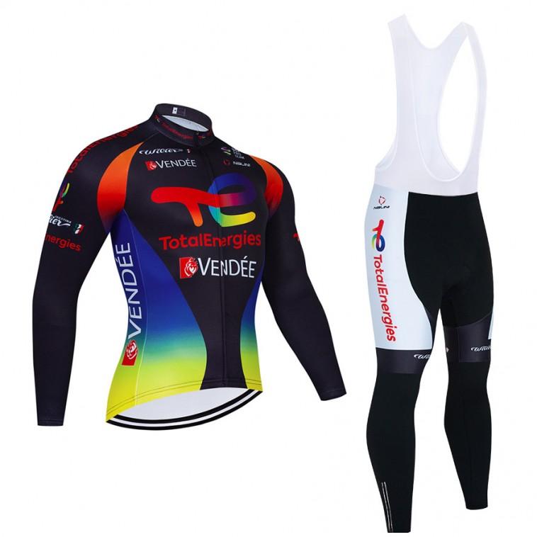 Ensemble cuissard vélo et maillot cyclisme hiver pro TotalEnergies 2021 Noir