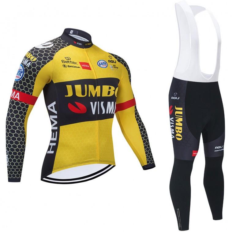 Ensemble cuissard vélo et maillot cyclisme hiver pro JUMBO VISMA 2021 Tour