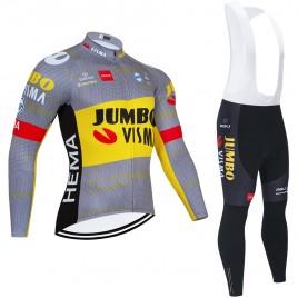 Ensemble cuissard vélo et maillot cyclisme hiver pro JUMBO VISMA 2021