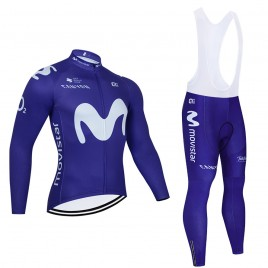 """Ensemble cuissard vélo et maillot cyclisme hiver pro MOVISTAR """"Blue edition"""" 2021"""