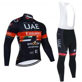 Ensemble cuissard vélo et maillot cyclisme hiver pro UAE EMIRATES 2021 Noir