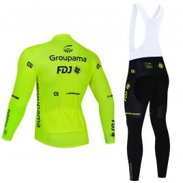 Ensemble cuissard vélo et maillot cyclisme hiver pro FDJ Groupama 2021 Fluo