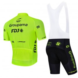 Ensemble cuissard vélo et maillot cyclisme équipe pro FDJ Groupama 2021 Aero Mesh Fluo