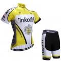 Ensemble cuissard vélo et maillot cyclisme équipe pro Tinkoff jaune