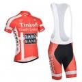 Ensemble cuissard vélo et maillot cyclisme équipe pro Tinkoff Saxo rouge