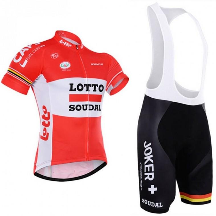 Ensemble cuissard vélo et maillot cyclisme équipe pro Lotto Soudal