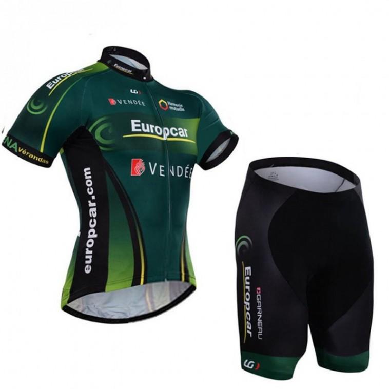 Ensemble cuissard vélo sans bretelles et maillot cyclisme équipe pro Europcar